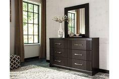 Dark Brown Tadlyn Dresser and Mirror View 1
