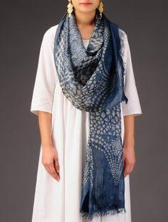 Indigo-Ecru Tussar Silk Batik Printed Stole