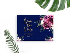 Marsala and Navy Save the Date / Wedding Invitation Printable / Save Our Date Wedding Card / Save the Date Template / Wedding Printable
