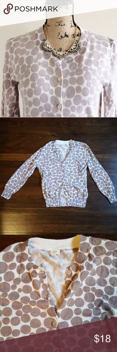 J.Crew Deco-dot cardigan Lightweight cardigan in neutral colors. Some wear but lots of life left. J. Crew Sweaters Cardigans