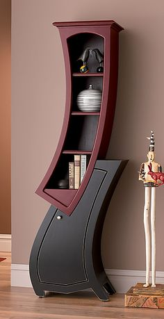 Whimsical, Disney-esque, Dali-esque, Dr. Suess-esque furniture Stacked No.7 in Crimson & Black