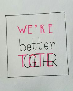 We're better together. Day 15/28 of the #letterchallenge @dutchlettering and @marijketekent . . . #dutchlettering #letterart #lettering #modernlettering #handletteren #letters #handlettering #handlettered #handgeschreven #handdrawn #handwritten #creativelettering #creativewriting #creatief #typography #typografie #moderncalligraphy #handmadefont #handgemaakt #sketch #doodle #draw #tekening #illustrator #illustration #typespire #dailytype #quote #together