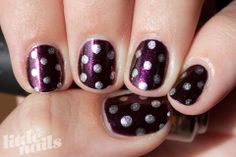 Metallic eggplant with silver dots #nailart January 2012 | Little Nails