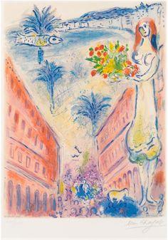 Avenue de la Victoire á Nice kleurenlitho op Arche papier Marc Chagall – Kunstgalerij Albricht