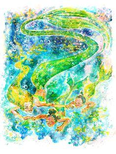 "April's Mermaids 8.5 X 11"" Illustration Commission #mermaids #watercolor #illustration #colorful #painting"