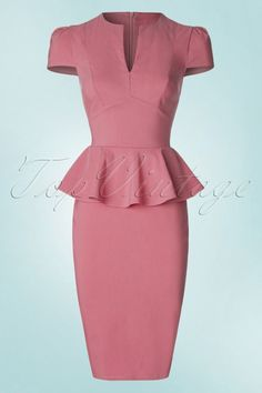 Vintage Chic Deep V Peplum Pencil Sky Dusky Pink Dress 100 30 19304 20160530 0003W