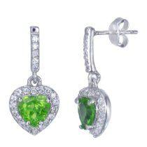 Sterling Silver Green Peridot Heart Earrings (1.40 CT)
