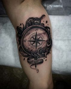 Blackwork Compass Tattoo by Juan Ramos