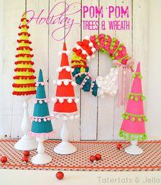 holiday pom pom trees and wreath at tatertots and jello
