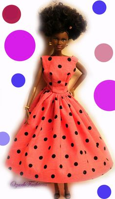 Handmade Barbie Doll dress - Polka Dots via Etsy