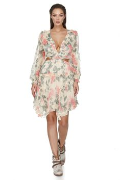 Sweet from the front and sensual from the back, this Vero Milano pink floral print dress will have you at 'hello', featuring lace-up open back. Pink Floral Dress, Cut Outs, Pretty In Pink, Ruffles, Summer Outfits, Floral Prints, Cold Shoulder Dress, Women Wear, Feminine