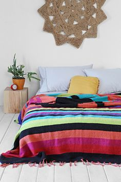 Magical Thinking Lone Wolf Beach Blanket $89 Urban Outfitters (♡ LOVE THESE COLORS!)