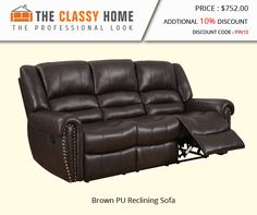 Brown PU Reclining Sofa