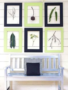 Dried Treasures in Molding Frames   For a display that you can alter each season, make six similar-size frames. Paint three light green and three black. Hang the frames in a grid pattern as shown. Then display your favorite natural finds. Dangle a group of dried leaves or a single branch from a small nail within each frame space.
