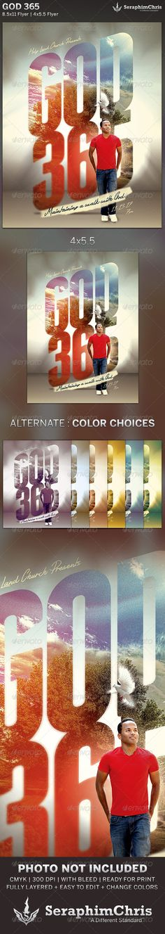 God 365: Church Flyer Template is designed for church events and servants that need a modern presentation with colors that pop! This premium flyer design is constructed to give the highest dynamic quality when printed or posted to social media site and other formats. This file is exclusive to graphicriver.net