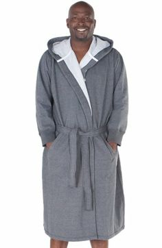 Cool Mens Dressing Gown  White  Blue Stripe 100%Cotton Velour Hooded ... 32bd4abd2