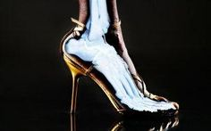 Wearing high heels puts extra pressure on the inside of woman's knee.  They need to wear different heel to regular stretching.