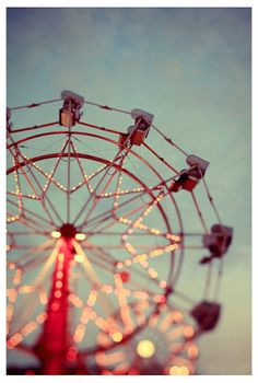 The sun was just setting, and the lights of the Ferris Wheel had just begun to flicker on...