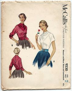 Vintage 1950s Sewing Pattern McCalls 9230 Misses by PTArchaeology