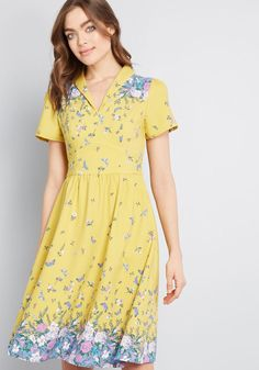 026b5194827 Lively Identity Short Sleeve Dress in S - Short Sleeves A-line Knee by  ModCloth