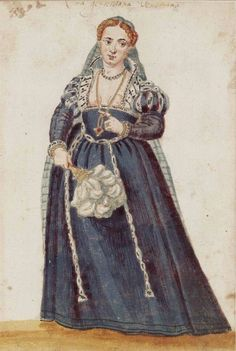Venetian Gentlewoman, The Venetian Woman in 'Mores Italiae,' 1575, Unknown Artist, Beinecke Rare Book and Manuscript Library, Yale University,  http://realmofvenus.renaissanceitaly.net/wardrobe/moresitaliae.htm