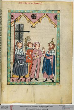 The Manesse Codex, German, 1300s  Susskind von Trimberg, the first known Jewish poet to write in German. Note the beard and Judenhut distinguishing him from the Christian churchmen he stands before.