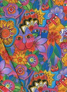 laurel+burch+fabric | CAT FABRIC - Retired Laurel Burch Fantastic Felines