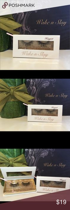 Luxury Mink False Eyelashes Stripe Style Hayat -Strip is made out of 100% Mink   -Soft and lightweight can be worn up to 30 times with proper care.   Retail price $29.99   Custom made for Brand Wake n Slay Instagram @wakenslay  All items are new coming from a smoke-free and pet-free environment! wake n Slay Makeup False Eyelashes