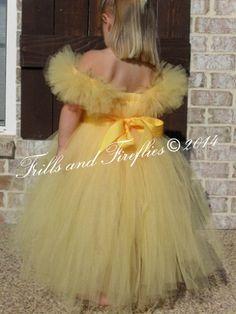 Yellow Flower girl dress/Belle Tutu Dress by FrillsandFireflies Gowns For Girls, Wedding Dresses For Girls, Girls Dresses, Bridesmaid Dresses, Dresses Dresses, Long Dresses, Belle Tutu, Belle Dress, Yellow Flower Girl Dresses