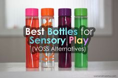Lately I've seen a lot of sensory bottles popping up on my Pinterest feed. I am totally oogling the VOSS water bottles, but I am in Canada and I have (so far) been unable to find them here. I… Voss Water Bottle, Water Bottle Crafts, Fun Activities For Kids, Sensory Activities, Motor Activities, Sensory Bins, Sensory Play, Sensory Tools, Rainbow Sensory Bottles