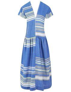 LEMLEM Blue Cotton Stripe Safia Dress. #lemlem #cloth #dress