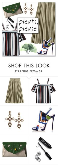 """""""Metallic Color Shiny Midi Pleated Skirt (work wear)"""" by jecakns ❤ liked on Polyvore featuring Dsquared2, Charlotte Olympia and Bobbi Brown Cosmetics"""