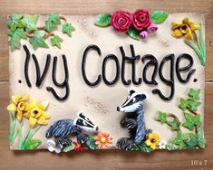 House sign, address number and name sign, Ceramic, Ivy Cottage Design House Name Plaques, House Names, Cottage Signs, Cottage House, Name Plate Design, Name Plates For Home, Address Numbers, Ceramic Houses, Slab Pottery