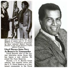 """Lloyd Haynes-Marines for 12 years then joined Naval Reserves as a lieutenant commander (Actor, best known from """"Room 222"""" and General Hospital ) Died at 52."""