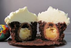 Cadbury creme egg cupcake (version holy moly!!  1)... fill your muffin cups and place the egg on top, and the egg sinks inside as they bake! ....... @lindsayb1212 ndsay
