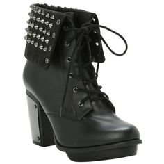 Studded Combat Boot Heel | Hot Topic ($60) ❤ liked on Polyvore featuring shoes, boots, ankle booties, heels, ankle boot, short black boots, studded ankle boots, black bootie, black military boots and heeled combat boots