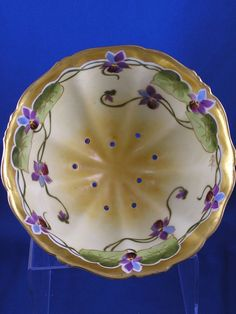 T Limoges Stouffer Studios Violet Motif Footed Berry Bowl (Signed from darkflowers on Ruby Lane