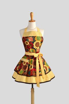 Ruffled Retro Apron - Cute Womens Apron in Fall Sunflower Gold and Brown Handmade Full Kitchen Thanksgiving Apron. $40.00, via Etsy.