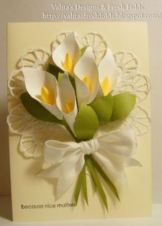 Valita's Designs & Fresh Folds: Calla Lily punch art with instructions at… Calla Lillies, Calla Lily, Lilies Flowers, Punch Art, Owl Punch, Paper Punch, Flower Cards, Paper Flowers, Paper Art
