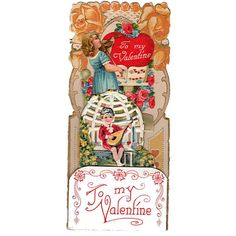 Vintage 1920s Fold Out Valentine Card Victorian Pop Up Girl Playing Violin Boy Playing Lute