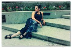 Flamenco belly dance steam punk cosplay skirt, black with blue navy ruffle detail by ScheherazadeBanoo, $75.00