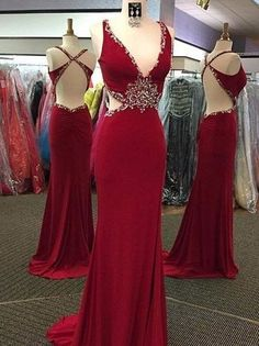 Dark red Prom Dresses,backless prom dress,long prom Dress,sexy prom dress,charming beaded evening dress