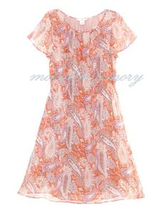 Graceful silk chiffon dress with short flutter sleeves, gathered neckline, blouson top, shirred elastic waist, and full knee-length skirt. Lovely antique-inspired paisley and floral pattern. By Sundance Catalog. Offered by moonlitmemory on ebay.