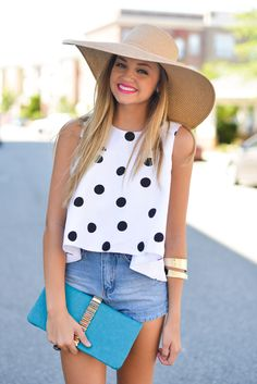 polkadot top with denim shorts and gold accents
