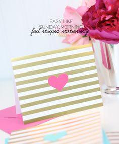 Foil Striped Stationery