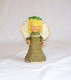 For Elena:  Mid Century Burlap Angel Tree Topper