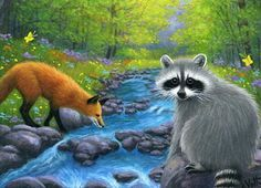 Red-fox-raccoon-forest-stream-wildlife-landscape-limited-edition-aceo-print-art