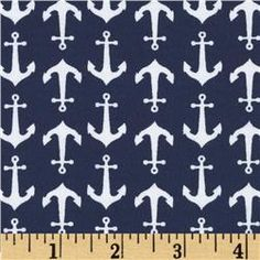 Riley Blake Cotton Jersey Knit Holiday Anchors Blue