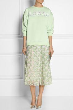 Christopher Kane | Pleated lace midi skirt and sweatshirt