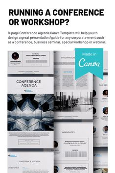 Running a conference or Conference Agenda Canva Template will help you to design a great presentation/guide for any corporate event such as a conference, business seminar, special workshop or webinar. Corporate Event Design, Business Design, Conference Agenda, Corporate Invitation, Travel Brochure Template, Great Presentations, Magazine Template, Media Design, Workshop